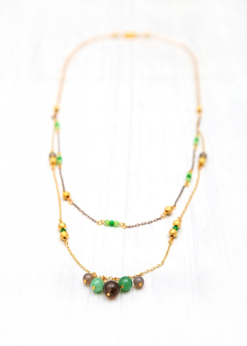 Beaded Agate Droplette Necklace