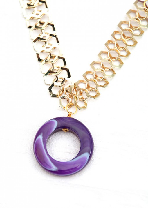 Empire Purple Chunky Necklace
