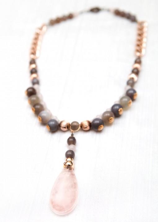 Rose Quartz and Grey Agate Pendant Necklace