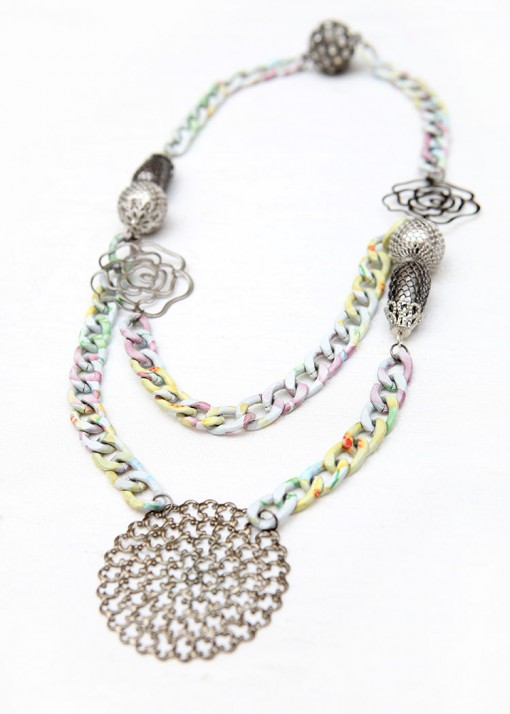 Flower Motif Chunky Chain Necklace