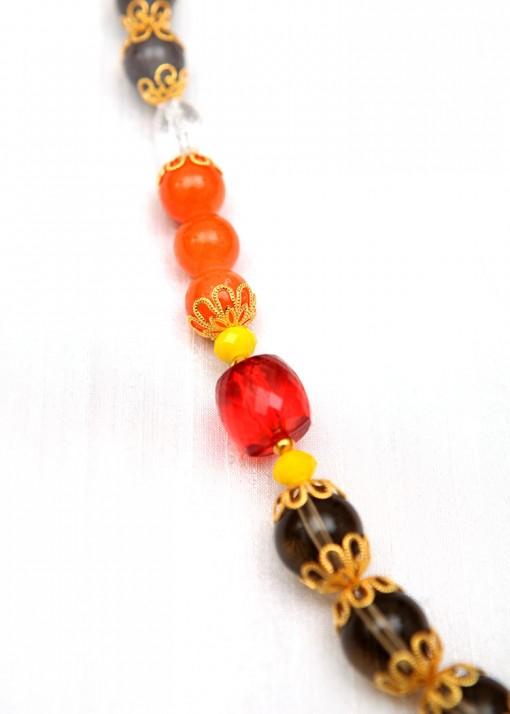 Orange, Red and Grey Pendant Necklace