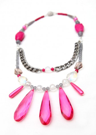 Pink Agate and Grey Pearl Statement Necklace