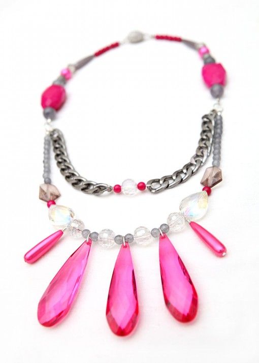 Statement Grey Pearl and Pink Agate Necklace