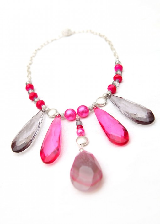 Agate and Druzy Pink Princess Pendant Necklace