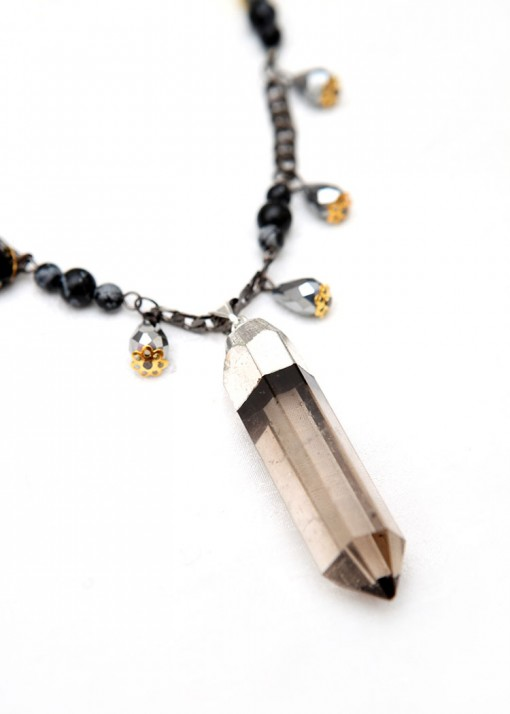 Psychic Quartz Point Beaded Necklace