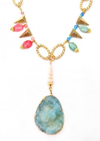 Druzy Pendant Reef Necklace
