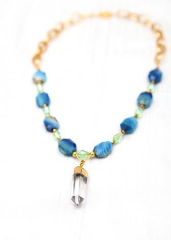Sea Breeze Quartz Pendant Necklace