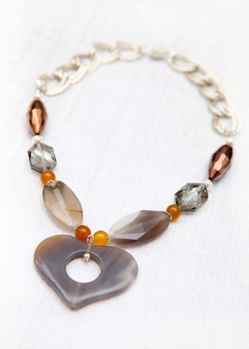 Grey Agate Silver Shadow Necklace