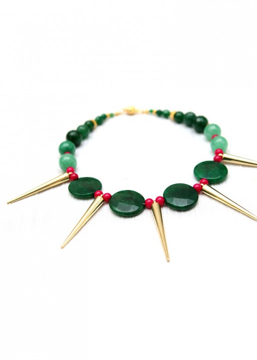 Green Spear Burst Statement Necklace