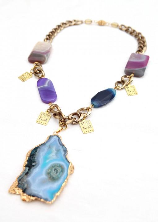 Blue and Purple Subtle Pendant Necklace