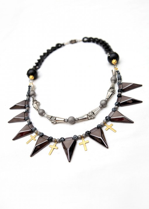 Silver and Black Beaded Thorns Necklace