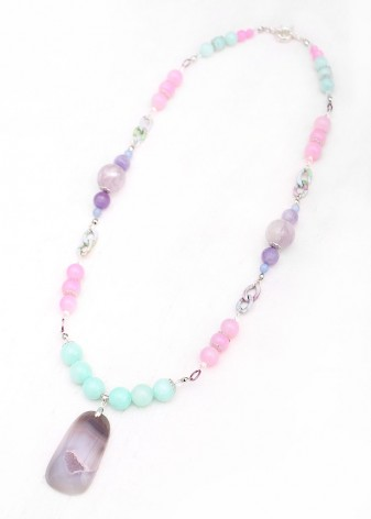 Beaded Candyfloss Pendant Necklace
