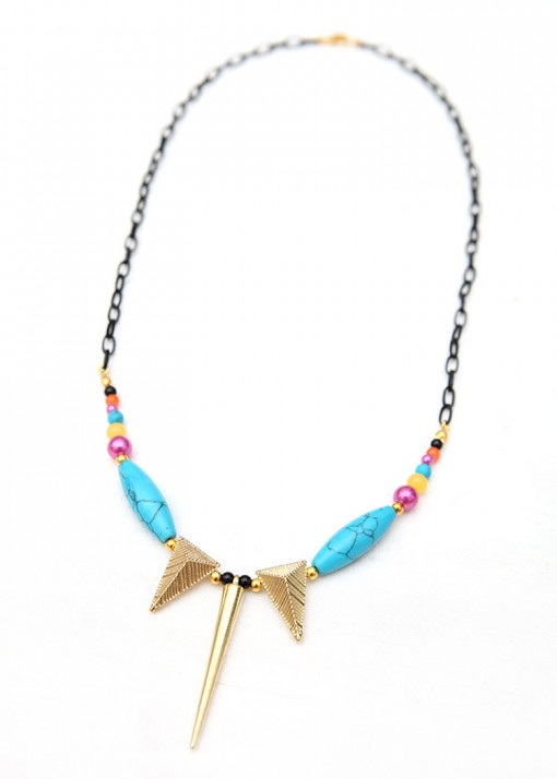 Spike Pendant Turquoise Matinee Necklace