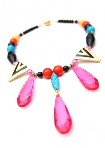 Statement Pink Teardrop Pendant Necklace