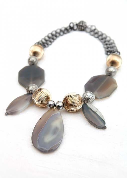 Cloudy Grey Chunky Agate Necklace