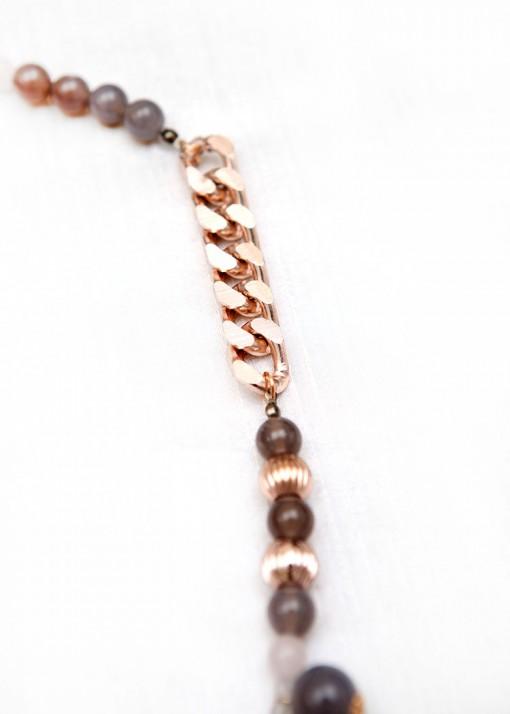 Grey Agate and Rose Quartz Pendant Necklace