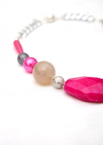 Chunky Pink and Grey Agate Collar