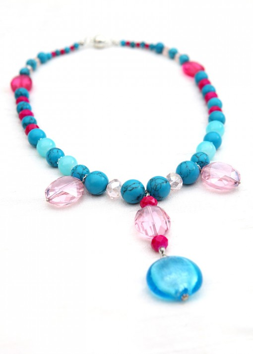 Blue Tiffany Blush Pendant Necklace