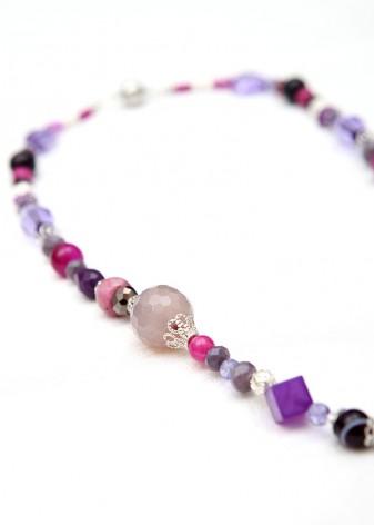 Beaded Viola Cream Pendant Necklace