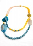 Beach Blue and Yellow Agate Necklace