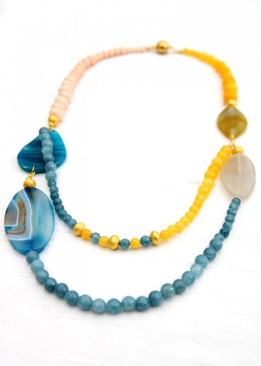 Yellow and Blue Agate Beach Necklace