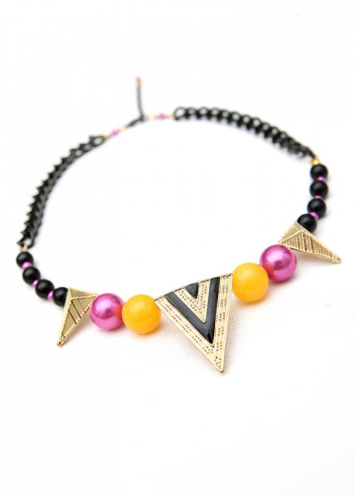 Beaded Gold and Black Triangle Collar