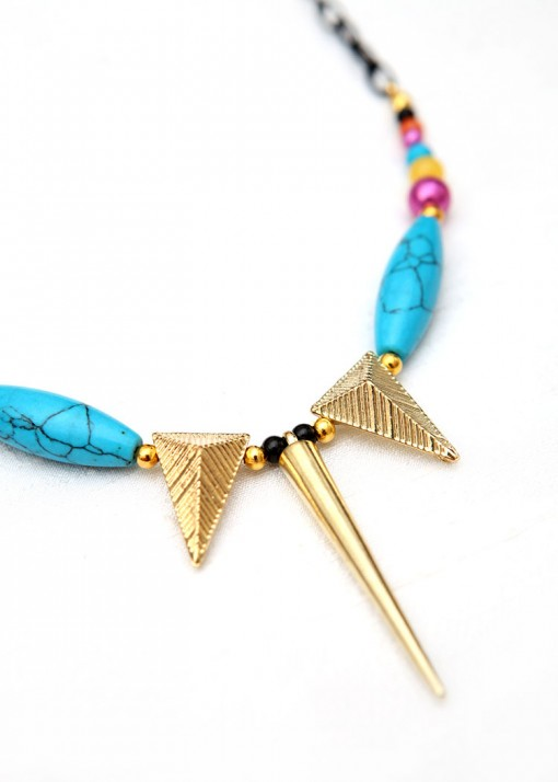 Turquoise Matinee Spike Pendant Necklace