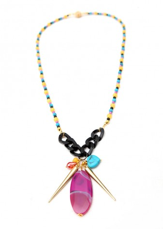 Bold Beaded Cluster Pendant Necklace