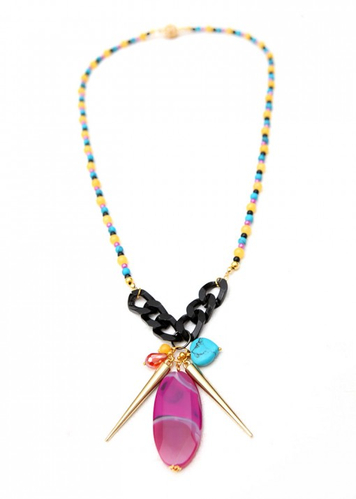 Beaded Cluster Bold Pendant Necklace