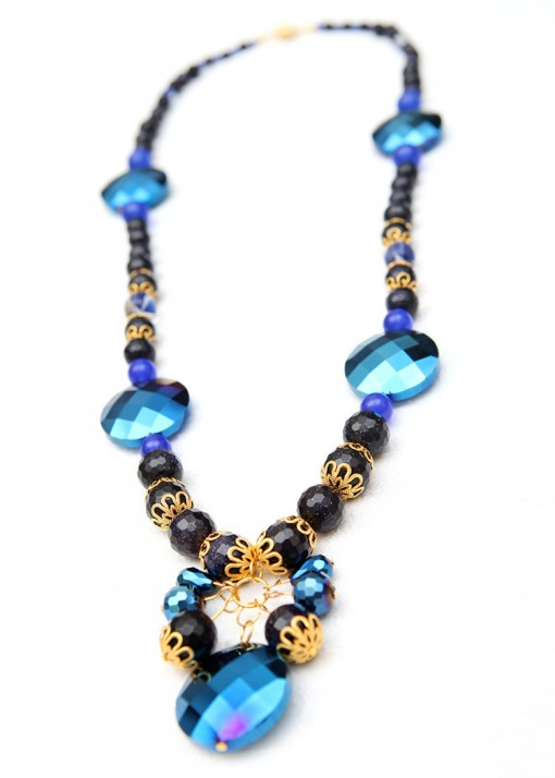 Blue Crystal Electro Necklace
