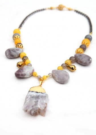 Yellow and Grey Teardrop Necklace