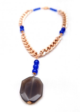 O2 Blue Beaded Chain Necklace