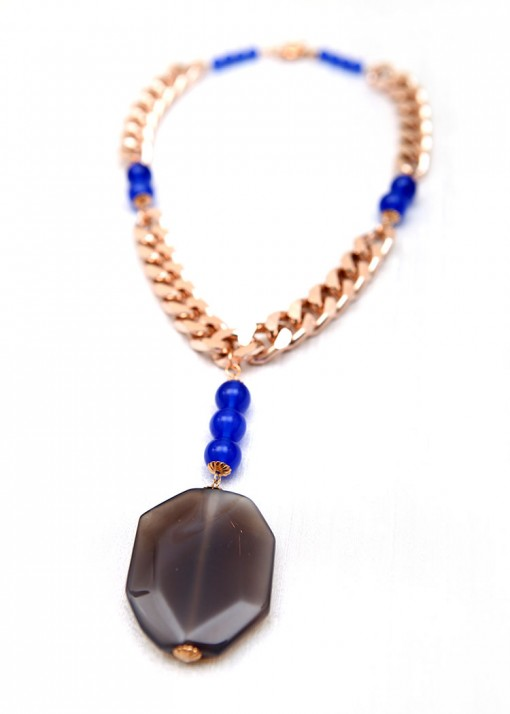 Blue Beaded O2 Chain Necklace