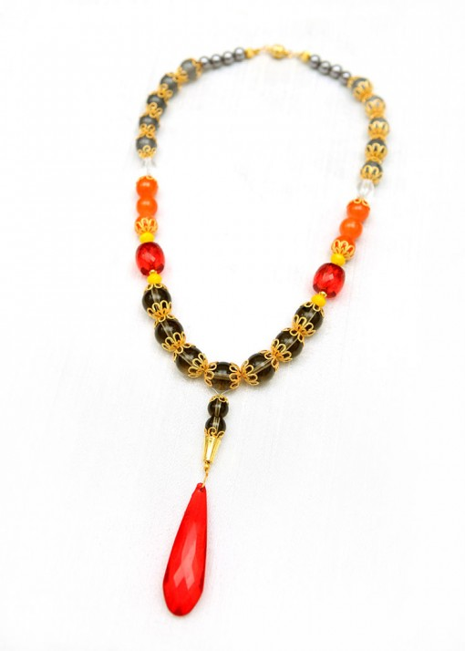 Grey, Orange and Red Pendant Necklace
