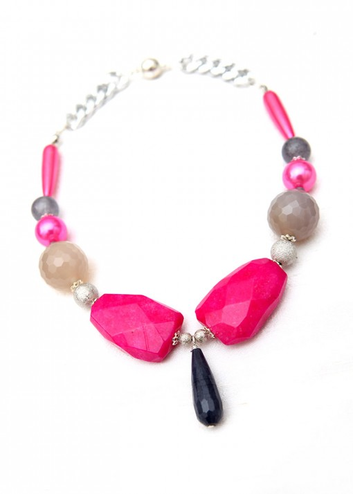 Grey and Pink Agate Chunky Collar