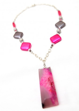 Pink and Grey Agate Matinee Pendant Necklace