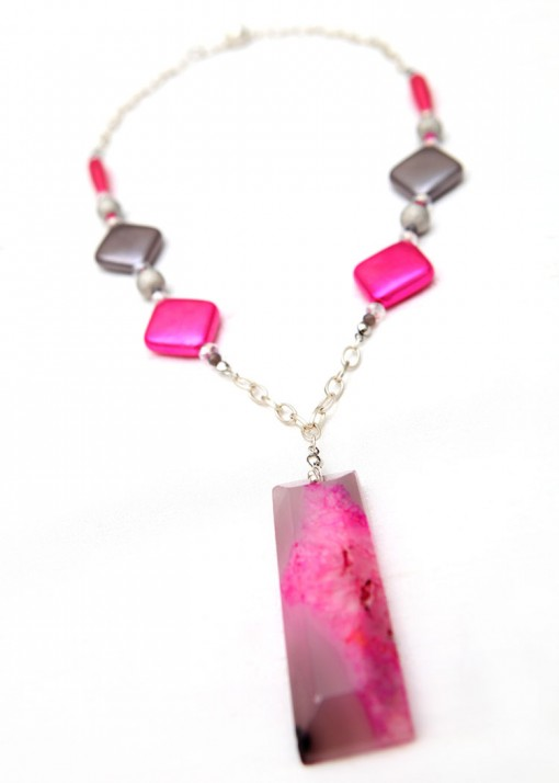 Matinee Pendant Grey and Pink Agate Necklace