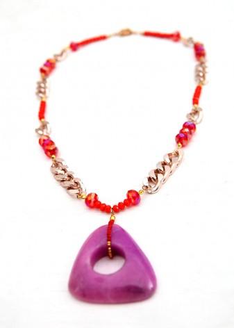 Spiced Orange and Purple Pendant Necklace