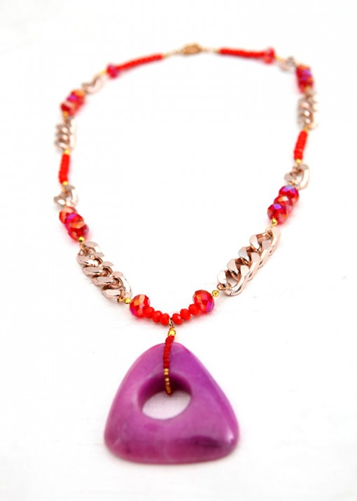 Orange and Purple Spiced Pendant Necklace