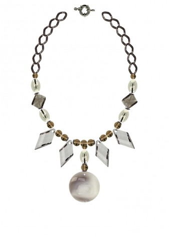 Smoky Silver Geometric Statement Necklace