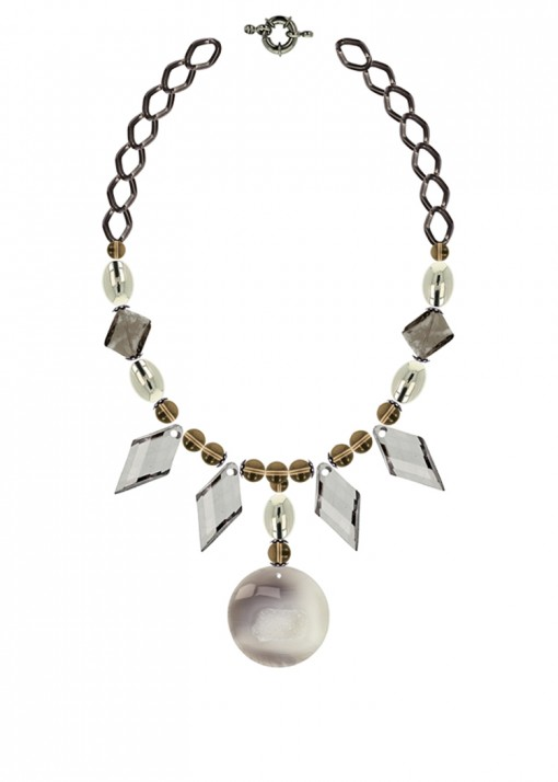 Geometric Smoky Silver Statement Necklace