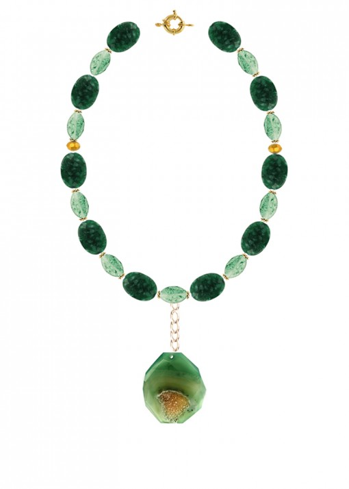 Chunky Forest and Sea Green Necklace