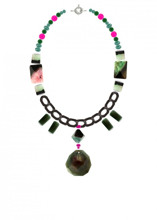 Moss Green and Pink Chunky Necklace