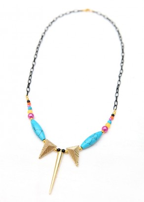 Matinee Spike Turquoise Pendant Necklace