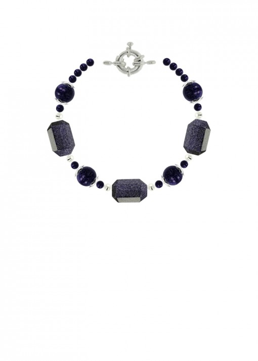 Starry Night Blue Goldstone Bracelet