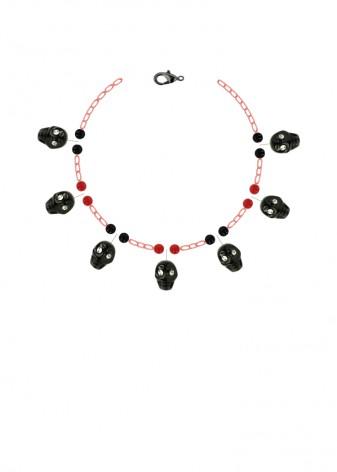 Agate Scarlet Poker Charm Bracelet