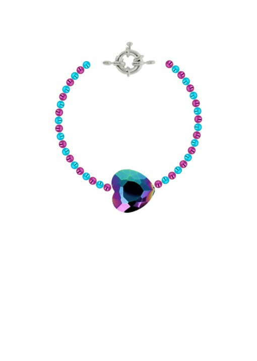 Rainbow Heart Beaded Bracelet